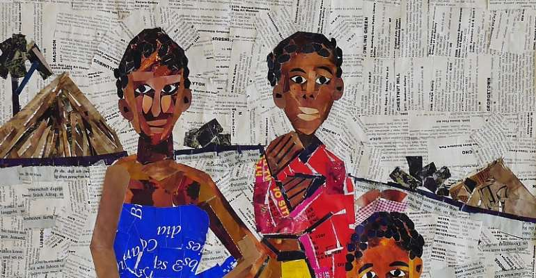 Detail of a collage work by  Rosemary Karuga, Untitled, 1998. - Source: © Karuga family/Courtesy Red Hill Art Gallery