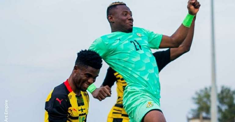 Ibrahim Danlad celebrates with Black Satellites teammates