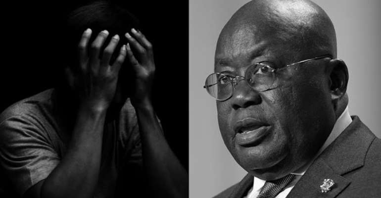 An unemployed contemplating suicide and the Ghanaian leader, Akufo Addo