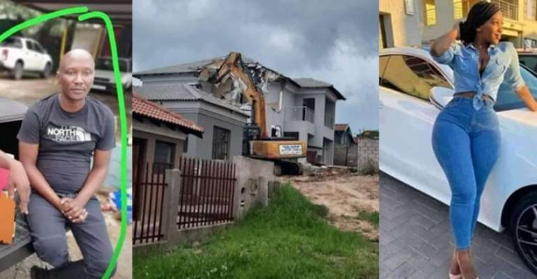 Video: Man demolishes beautiful house he built for his girlfriend after she dumped him