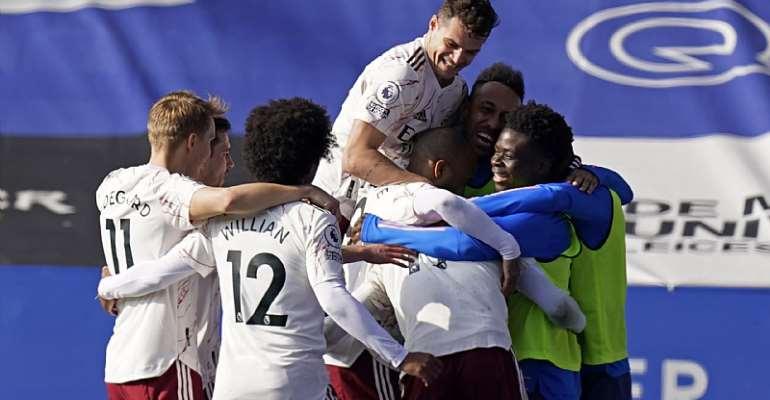 Arsenal's French-born Ivorian midfielder Nicolas Pepe celebrates  Image credit: Getty Images