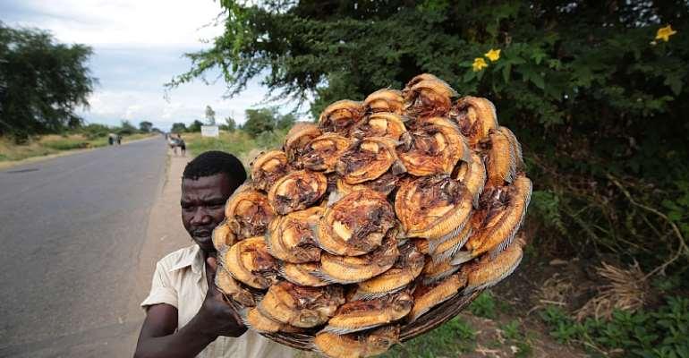 Ronald Jackson sells dried fish on the roadside in Mangochi, Malawi.   - Source: EFE-EPA/Aaron Ufumeli
