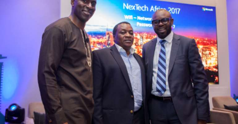 Microsoft Kenya General Manager Kunle Awosika (Right) , ICT PS Eng Victor Kyalo (Centre) And Microsoft's Partner Director Of Software Engineering Bambo Sofolo