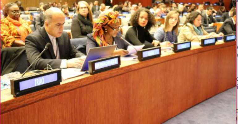 Ms. Otiko Afisah Djaba, President's Representative at the Ministry of Gender, Children and Social Protection, (middle) at 55th session of the United Nations' Commission on Social Development in New York