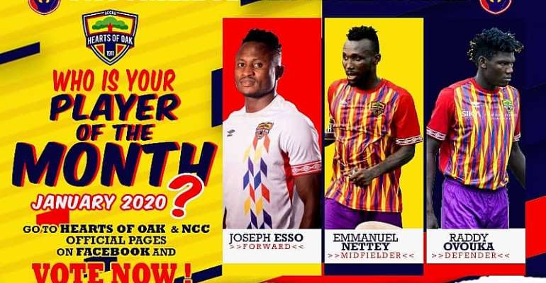 Nettey Battle Esso For Hearts Of Oak 'Player Of The Month' Award