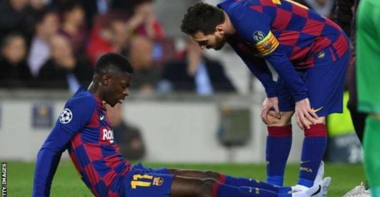 Barca's Dembele Tears Hamstring On Return To Training
