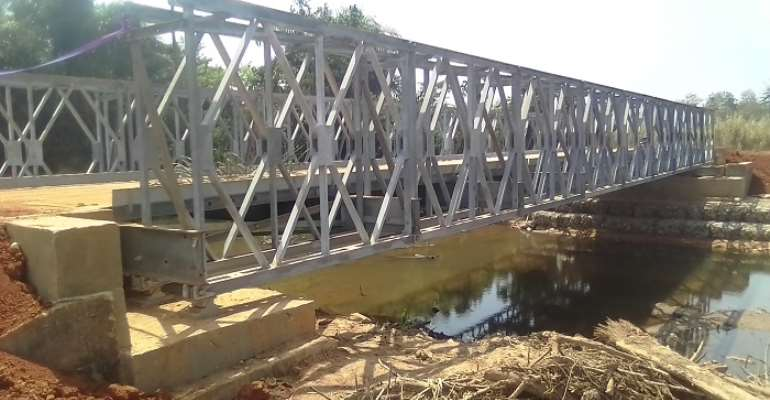 The newly constructed steel bridge