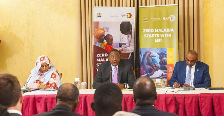 From left, Her Excellency Mrs. Amira El-Fadil, Commissioner for Social Affairs for the African Union Commission, His Excellency President Uhuru Kenyatta, President of the Republic of Kenya and Chair of the African Leaders Malaria Alliance (ALMA) and Dr. Abdourahmane Diallo, CEO of the RBM Partnership to End Malaria