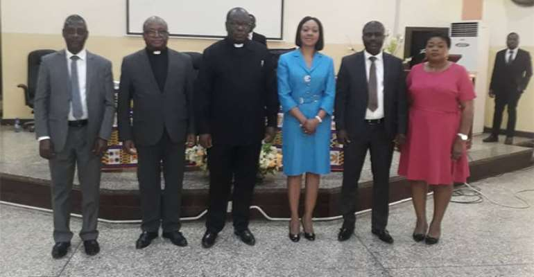 From left to right…Samuel Tettey, Deputy Chairman Operations, Rev Dr. Godwin Nii Noi Odonkor, Clerk of the General Assembly of the Presbyterian church of Ghana, The Moderator of the General Assembly of the Presbyterian church of Ghana is Rt. Rev Prof. Joseph Obiri Yeboah Mante, Jean Mensa Chairperson, EC, Dr. Bossman Eric Asare Deputy Chairman, Corporate Services and Sylvia Annoh, Ag Director Public Affairs, EC
