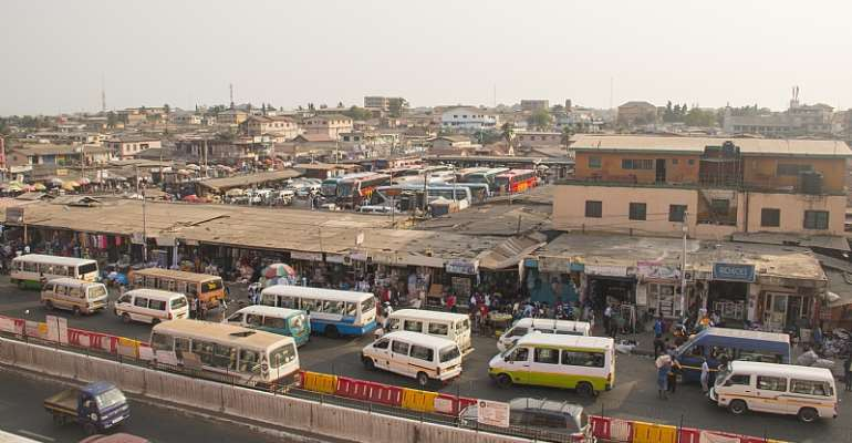 A bus and tro-tro station in Accra, Ghana. - Source: nicolasdecorte/Shutterstock/Editorial use only