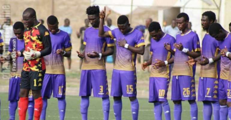 Players of Tema Youth FC seeking for the face of the Lord before their match against WAFA at the Sogakope Park on Sunday