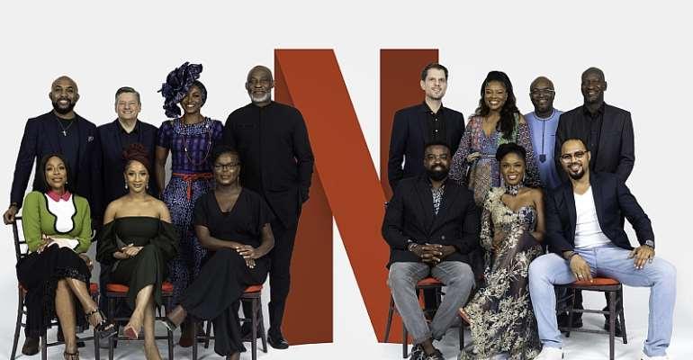 Back row (From L-R): Banky W, Ted Sarandos (Netflix Chief Content Officer), Kate Henshaw, Richard Mofe-Damijo, Felipe Tewes (Netflix Italian & African Originals Director), Omoni Oboli, Ben Amadasun (Netflix  Africa Licensing Director) and Akin Omotoso  Front Row (L-R) Mo Abudu, Adesua Etomi, Dorothy Ghettuba (Netflix African Originals lead) , Kunle Afolayan, Kemi Adetiba and Ramsey Noah. - Source: