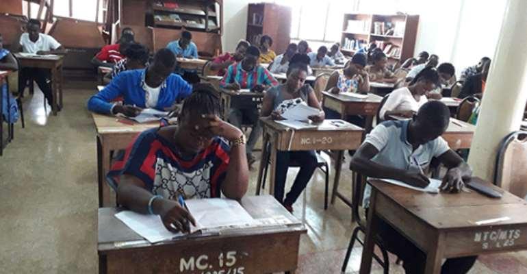 Examination candidates at the Berekum College of Education Centre
