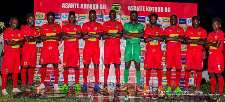 Asante Kotoko players in Strike jerseys