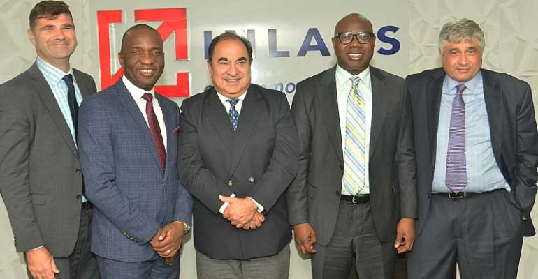 L-R : Andrew Clark, Vice-president, Moven, Olufemi Muraino, Executive Director, Inlaks, Anil Uttamsingh, International Business, Moven, Femi Adeoti, Managing Director, Africa Operations, Inlaks and Kesh Talwar, Global Revenue Officer, Moven at Inlaks Head Office in Lagos, Nigeria
