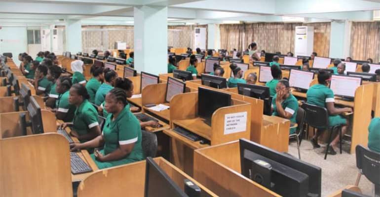 The nursing students taking their exams at the ICT lab