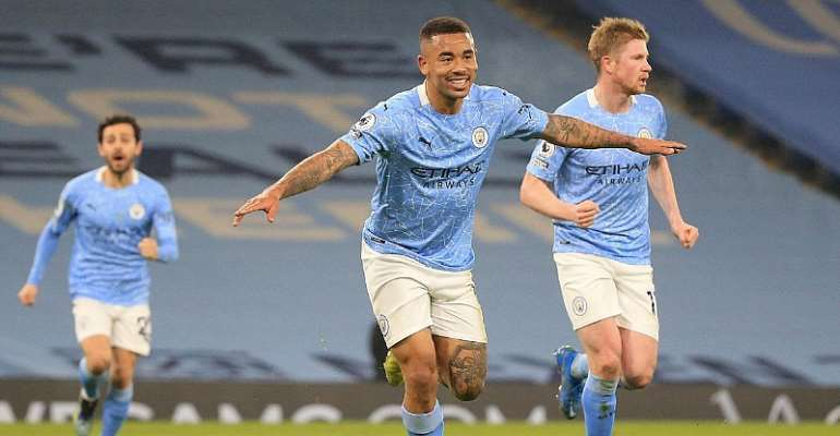 Gabriel Jesus of Manchester City celebrates after scoring their side's second goal during the Premier League match between Manchester City and Wolverhampton Wanderers at Etihad Stadium on March 02, 2021 in Manchester, England.