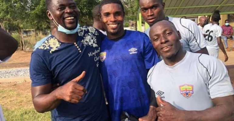 All smiles in training as Hearts of Oak's new coach Samuel Boadu meets players