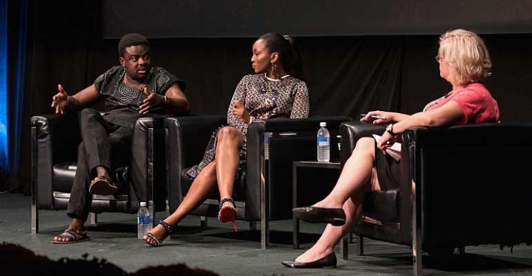 Director Kunle Afolayan, actress/singer Genevieve Nnaji and moderator Wendy Mitchell discuss the international rise of Nollywood at the 2016 Toronto International Film Festival. - Source: Tara Ziemba/Getty Images)