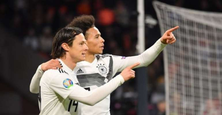 Leroy Sane (right) of Germany celebrates with teammate Nico Schulz. Photograph: Sebastian Widmann - UEFA/UEFA via Getty Images