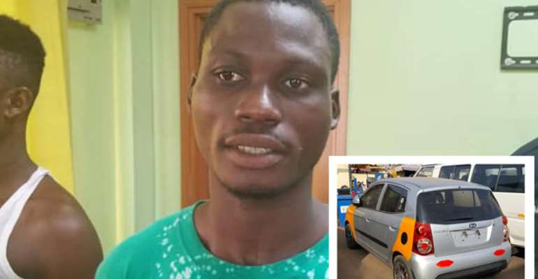 Emmanuel Tetteh. INSET: The taxi cab after it was retrieved.