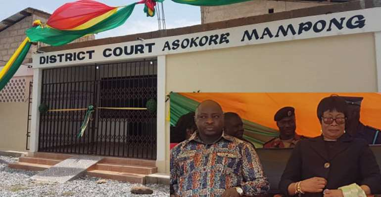The court building. INSET: Sophia Akufo and Alidu Seidu