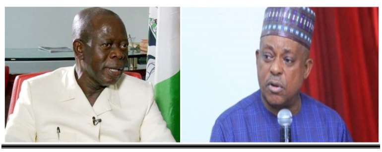 PDP National Chairman, Uche Secondus and his APC counterpart, Adams Oshimhole