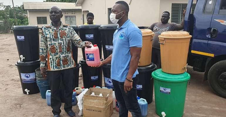 COVID-19: OSAFRIC Donates Sanitizers, Liquid Soap, Veronica Buckets To Atiwa-West District