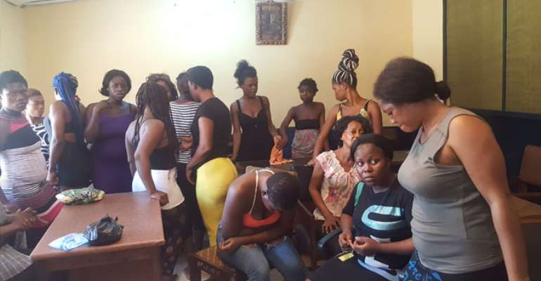 Some of the 'prostitutes' at the Kaneshie police station