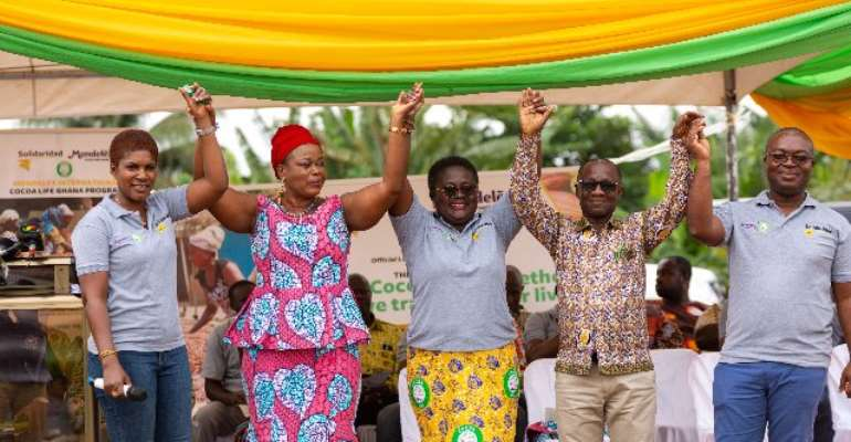 L-R: Ms Suzan-Hermina Yemidi, Country Representative of Solidaridad in Ghana, Hon. Margaret Darko Municipal Chief Executive of Suhum, Mrs.Yaa Peprah Amekudzi, Country Lead for Mondelez International Cocoa Life Program for Ghana,Mr. Samuel Gyimah Gyemfi,Ea