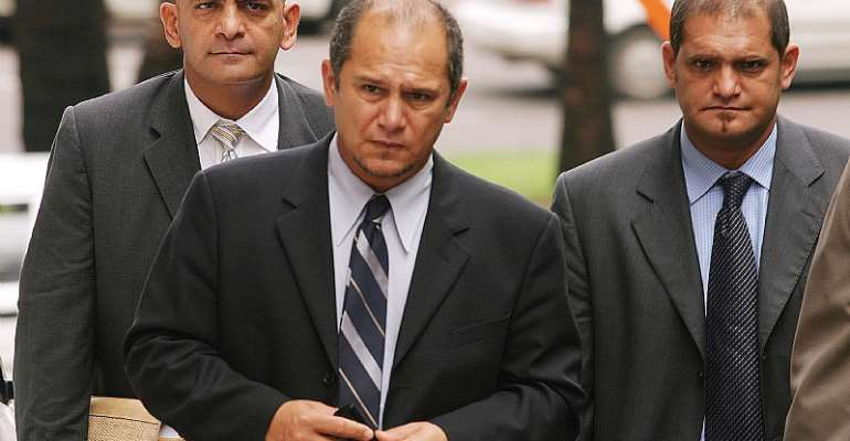 The Shaik brothers Moe, Schabir and Chippy after Schabir was found guilty of fraud and corruption and sentenced to 15 years. - Source: .Beeld/Gallo Images/Getty Images