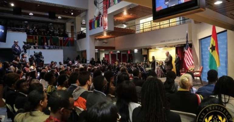 President Akufo-Addo addressing the Harvard Institute of Politics