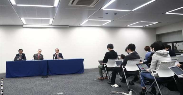 Tokyo 2020 president Yoshiro Mori (centre, at table) made the announcement at a news conference on Monday