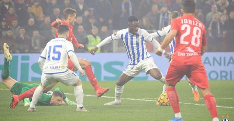 Winful Cobbinah On Target As FK Tirana Beat Flamurtari in Albania Top-Flight