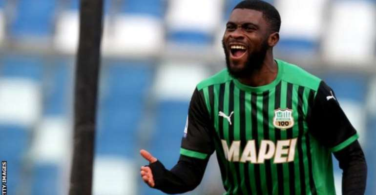 Ivory Coast's Jeremie Boga celebrates a goal for his Italian club Sassuolo