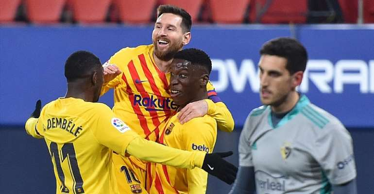 Ilaix Moriba of FC Barcelona celebrates with Lionel Messi and Ousmane Dembele after scoring their team's second goal during the La Liga Santander match between C.A. Osasuna and FC Barcelona at Estadio El Sadar on March 06, 2021 in Pamplona, Spain  Image credit: Getty Images