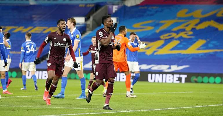 Ghana defender Daniel Amartey celebrates after scoring for Leicester City against Brighton. Picture Credit/Leicester City