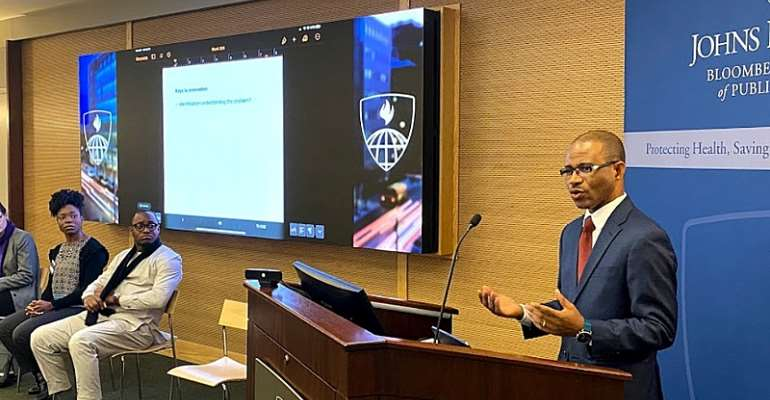 Dr. Dougbeh Chris Nyan, M.D. speaking at the Johns Hopkins University, Photo: Janice Allotey