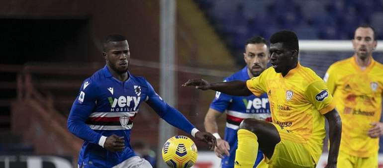 Ghana midfielder Alfred Duncan impress in Cagliari midfield during draw at Sampdoria