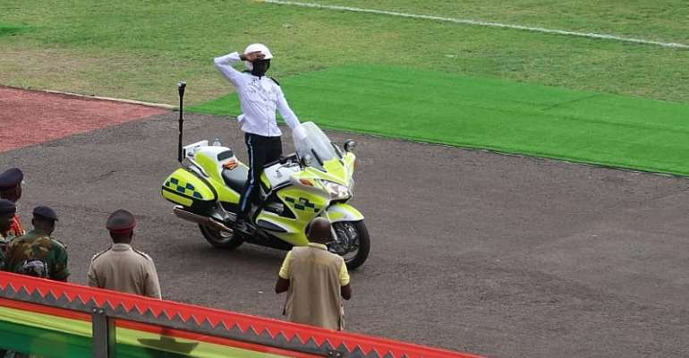 Police motor dispatch riders displaying some skills with their motorbikes
