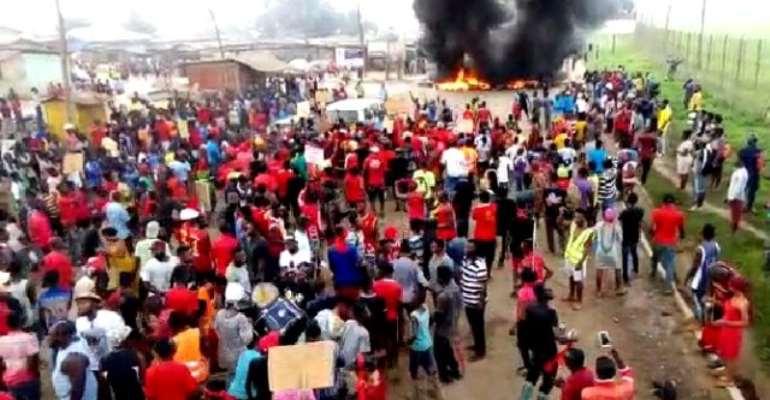 Scene of the demonstration Wednesday Morning