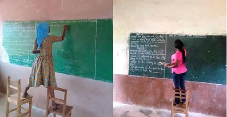 Some of the teachers stood on chairs to write the exam questions on the chalkboards