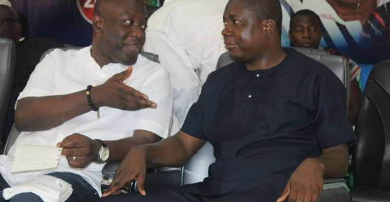 Kojo Oppong Nkrumah and Gideon Boako having a chat during the conference