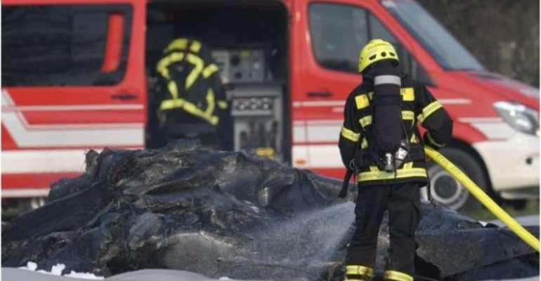 The jet crashed while landing near Frankfurt
