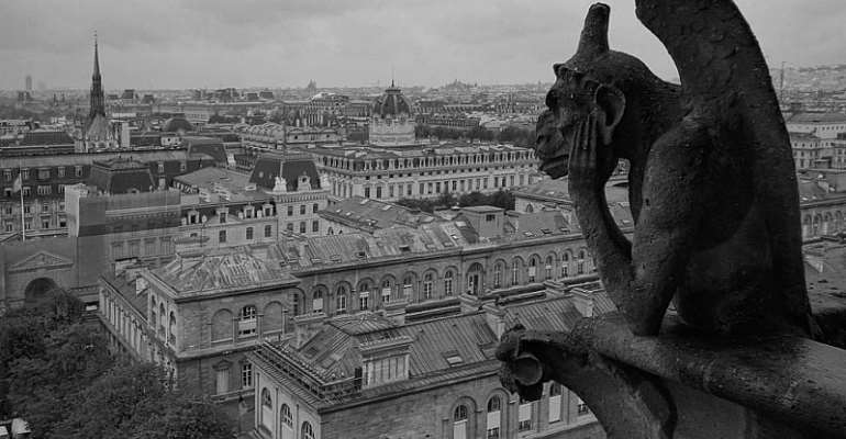 Statues From Facade Of Notre-Dame Cathedral Fly Above Paris