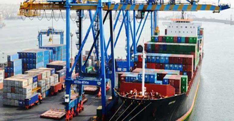 A vessel at the ports containing imported items