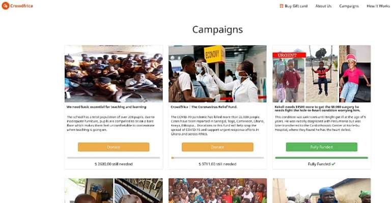 Crowdfrica.org Opens Its Fundraising Platform To Help Finance COVID19 Efforts In Ghana And Africa.