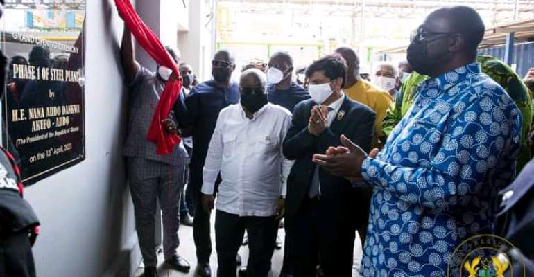 1D1F: Akufo-Addo commissions B5 Plus Steel Plant; cuts sod for phase II