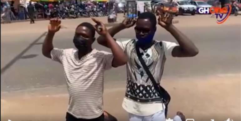 City guards flog pedestrians for failing to use footbridge at Madina [VIDEO]