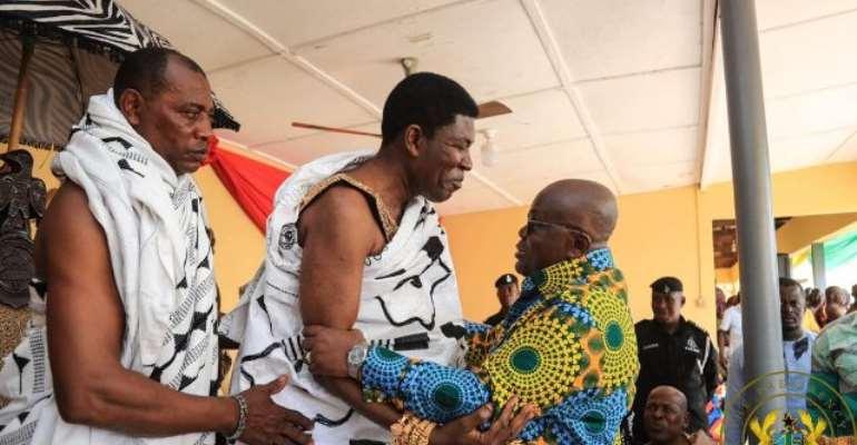Nana Oseadeayo Akumfi Ameyaw IV thanked President Akufo-Addo for presenting eight new vehicles to the Bono East RCC.